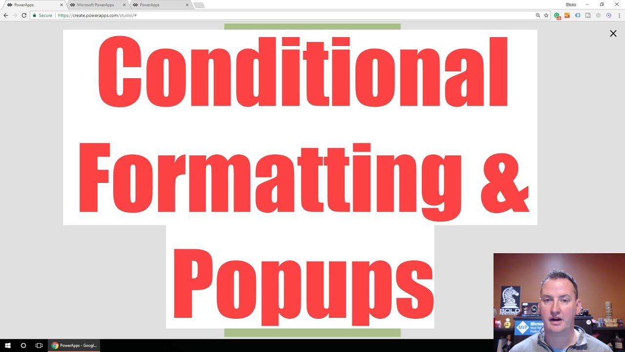 PowerApps Conditional Formatting and Popups