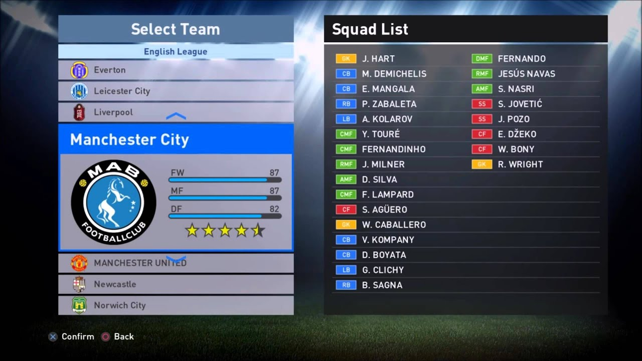 pes 2016 all premier league clubs real names youtube