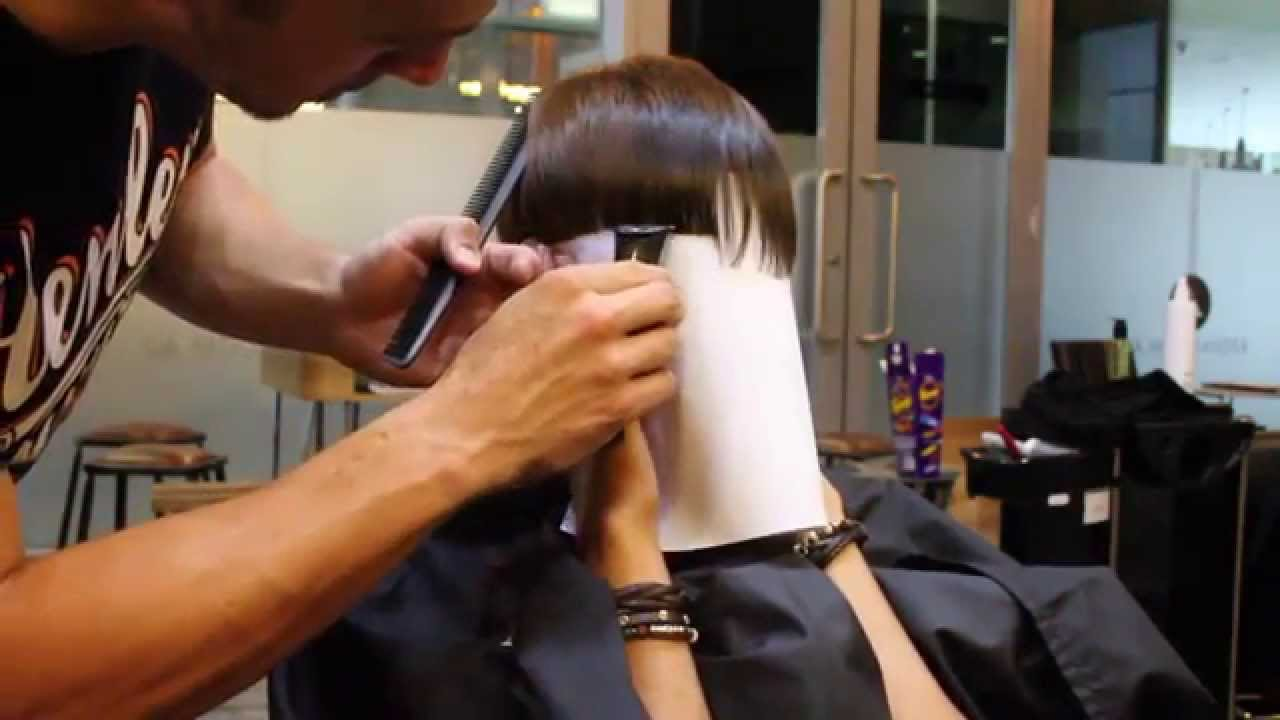 short graduated cut with blunt fringe