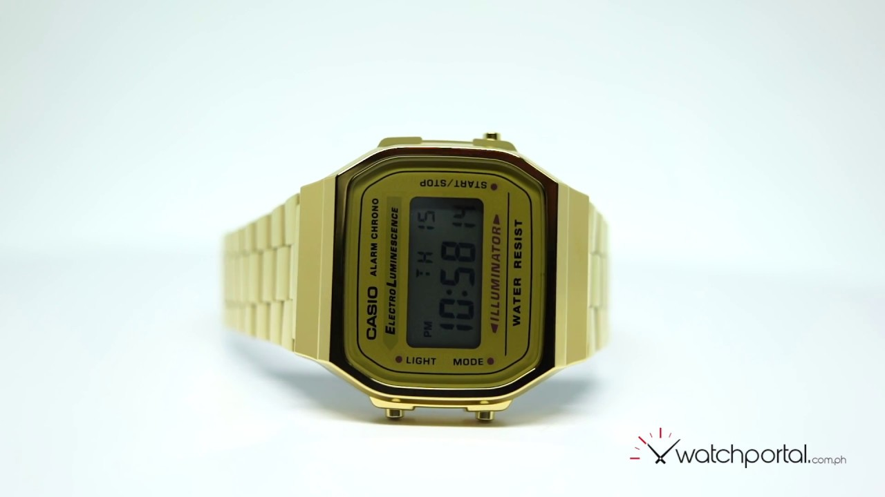 f45e2dd1e Casio Vintage A168WG-9WDF Gold Plated Stainless Steel Watch For Women