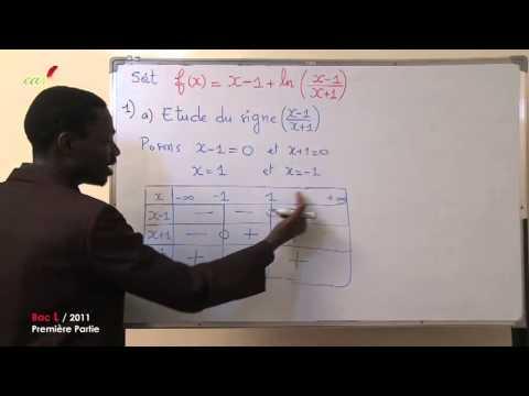 Exercices - Terminale - Mathématiques : Fonction LN Bac L 2011, Premiere partie mp4