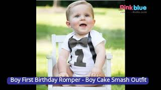 First Birthday Bodysuit Romper Outfits - 1st Birthday Romper Bowtie Bodysuit - Cake Smash Outfit