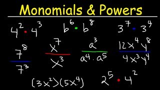 Algebra - Exponents - Multiplying and Dividing Monomials!
