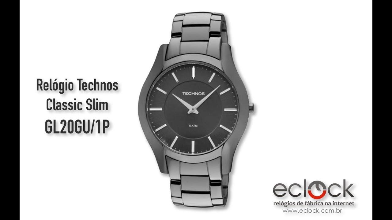 Relógio Technos Masculino Classic Slim GL20GU 1P - Eclock - YouTube 3b8c15bdde