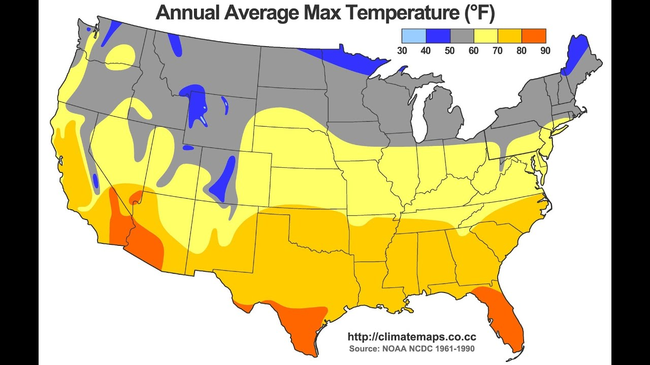 Av Average Temperature For Us Cities - Us state weather map