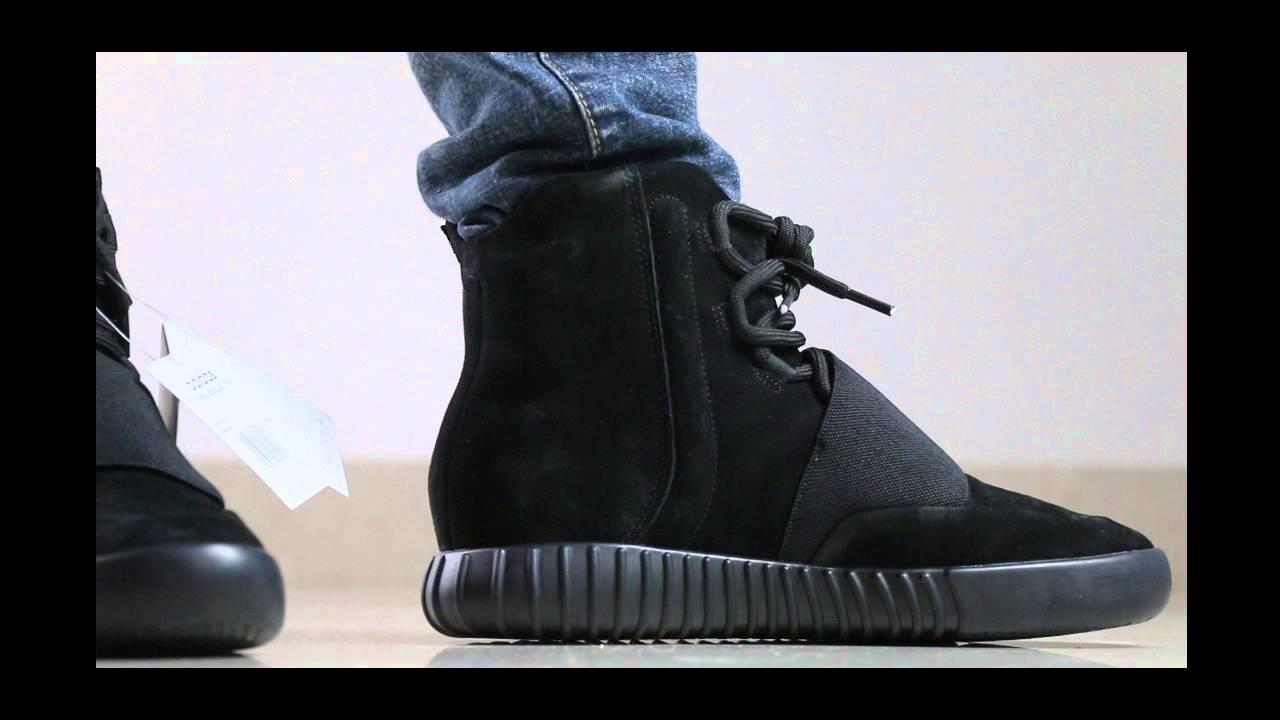 8a19d5934 yeezy 750 triple black on foot - YouTube