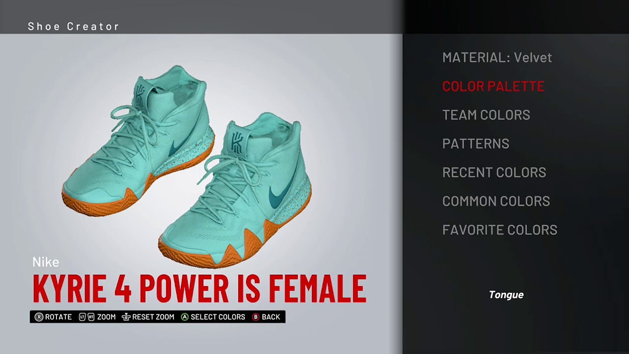 promo code 74d0a 0c7ff NBA 2K19 Shoe Creator - Nike Kyrie 4 `Power Is Female` by Zorify