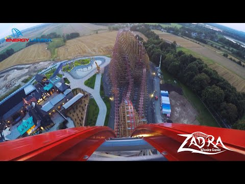 ZADRA Wooden Coaster POV Premier Test - Energylandia Amusement Park Poland / No. 1 in the World