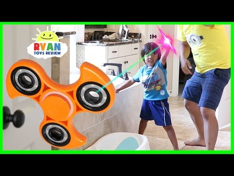 Thumbnail: GIANT FIDGET SPINNER MAGICAL PAINTBRUSH! Chase and Hide N Seek Family Fun Kids Pretend Playtime