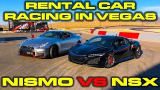 Exotic Rental Car Drag Racing in Las Vegas Part 1 - 2017 Acura NSX vs 2017 Nissan GT-R Nismo