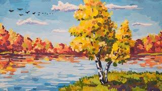 Как нарисовать ОСЕНЬ гуашью | How to draw an Autumn