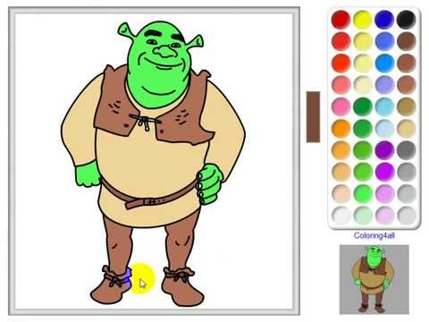 Shrek Coloring pages online game - YouTube