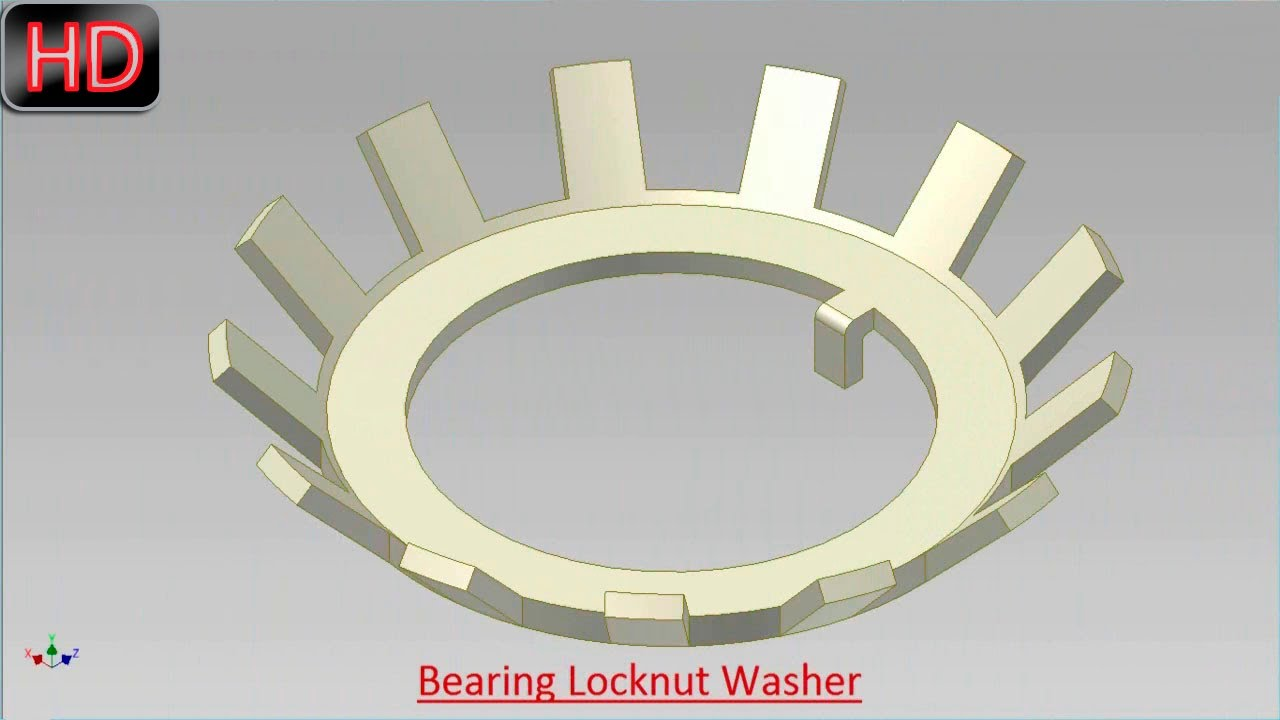 Bearing Lock Nut Washer Video Tutorial Autodesk Inventor