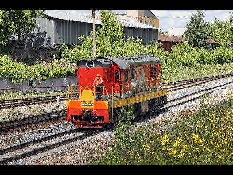 ТЭМ2 7224 и ЧМЭ3 3187 делают манёвры по станции Мытищи-Северные Московской железной дороги.
