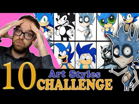 Drawing in 10 DIFFERENT STYLES..?    Art Styles SWAP CHALLENGE   Sonic The Hedgehog