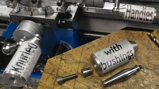 Knurled Handles: Knurling, taper cutting, and bushings on the mini lathe