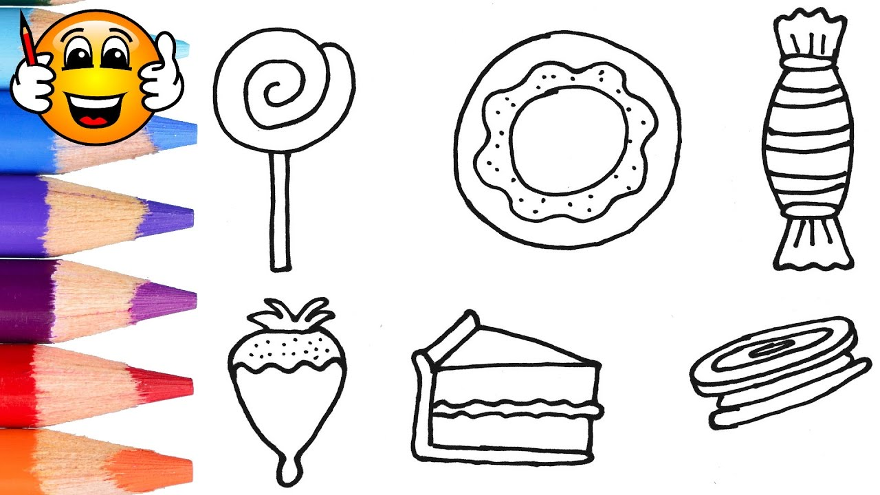 Coloring Pages For Kids Pink Cake and Candy | Coloring for Kids ...