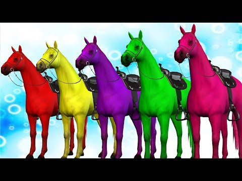 Learn Colours with Horse || 3D Horse Colors Songs for Preschool Kids Toddlers thumbnail