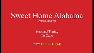 Sweet Home Alabama - Easy Guitar (Chords and Lyrics)