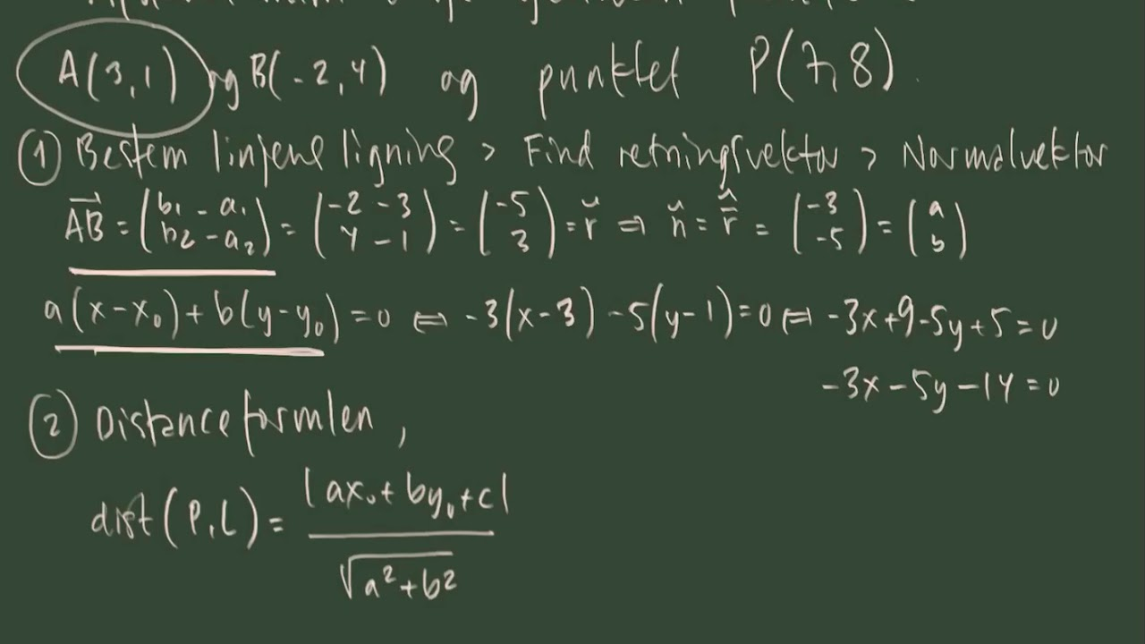 Afstand mellem punkt og linje - eksempelopgave