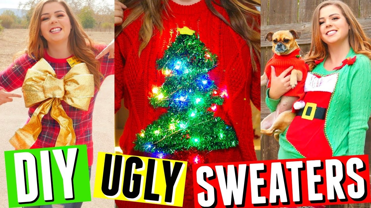 DIY UGLY CHRISTMAS SWEATERS! SWEATER WITH LIGHTS, STOCKING