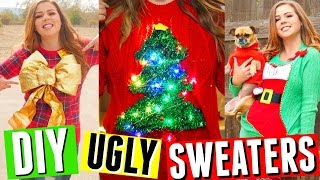 DIY UGLY CHRISTMAS SWEATERS! SWEATER WITH LIGHTS, STOCKING, CHRISTMAS TREE + MORE IDEAS!