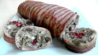 Christmas Stuffing wrapped in Bacon How to make recipe