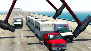 CARAVAN POLICE CHASE THROUGH GIANT SLEDGEHAMMERS - BeamNG Drive Police Chase