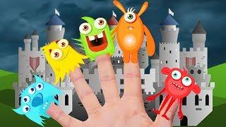 Five Monster Finger Family Song 교육으로 동요와 아기의 노래를