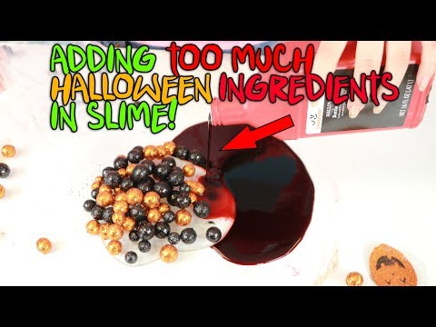 ADDING TOO MUCH RANDOM HALLOWEEN INGREDIENTS IN CLEAR SLIME! Slimeatory #471