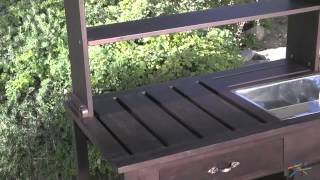 Rustic Garden Potting Bench - Dark Brown - Product Review Video