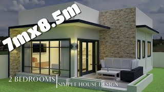 60sq.m 7mx8.5m Simple House Design With 2 Bedrooms