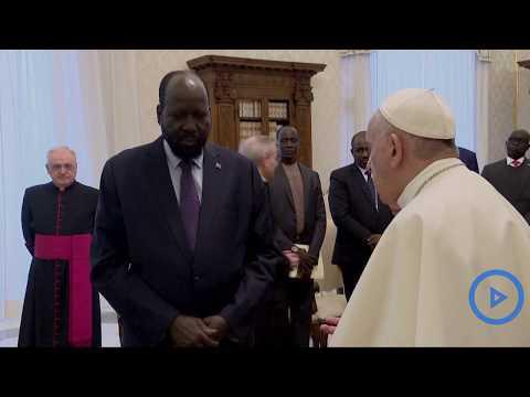 Pope Francis hosts South Sudan's president Salva Kiir in Vatican