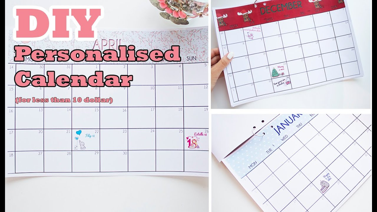 Diy Calendar With Pictures : Diy calendar i super easy for less than dollar youtube