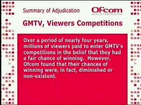 GMTV Ofcom Ruling (Broadcast on GMTV 08:08am 10/10/07)