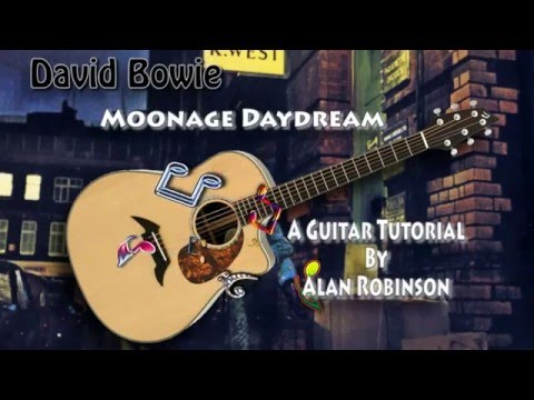 Moonage Daydream - David Bowie (R.I.P.) - Acoustic Guitar Lesson (detune by 1 fret)