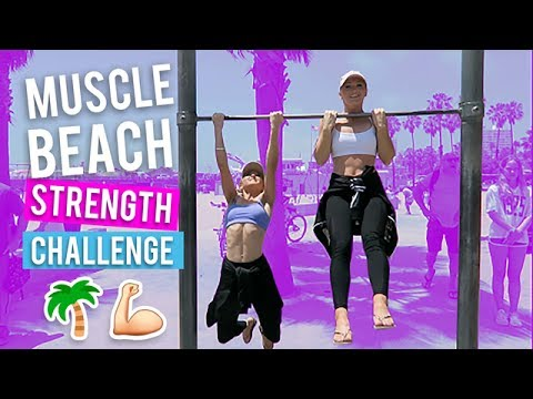 Muscle Beach Strength Challenge! | The Rybka Twins