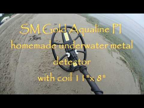"SM Gold Aqualine PI - homemade metal detector , with Dual Field coil 11""x 8"""