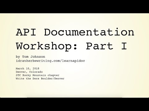 API Documentation Workshop: Part I