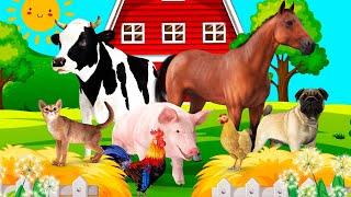 Как говорят животные Звуки животных Домашние животные для детей Корова Лошадь