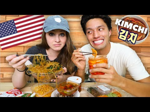 My Girlfriend Eats Korean Food for the First Time!