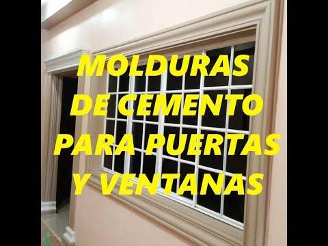 Acabados en molduras de cemento en puerta principal y ventanas youtube - Molduras para puertas ...