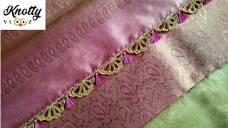 New Saree Kuchu Design | Double Colour Flower Crochet Saree Tassels | www.knottythreadz.net