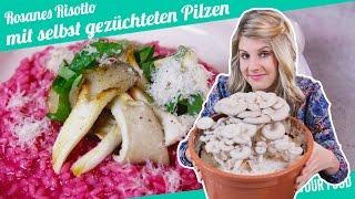 Rosa Risotto mit selbst gezüchteten Pilzen   Felicitas Then   Pimp Your Food
