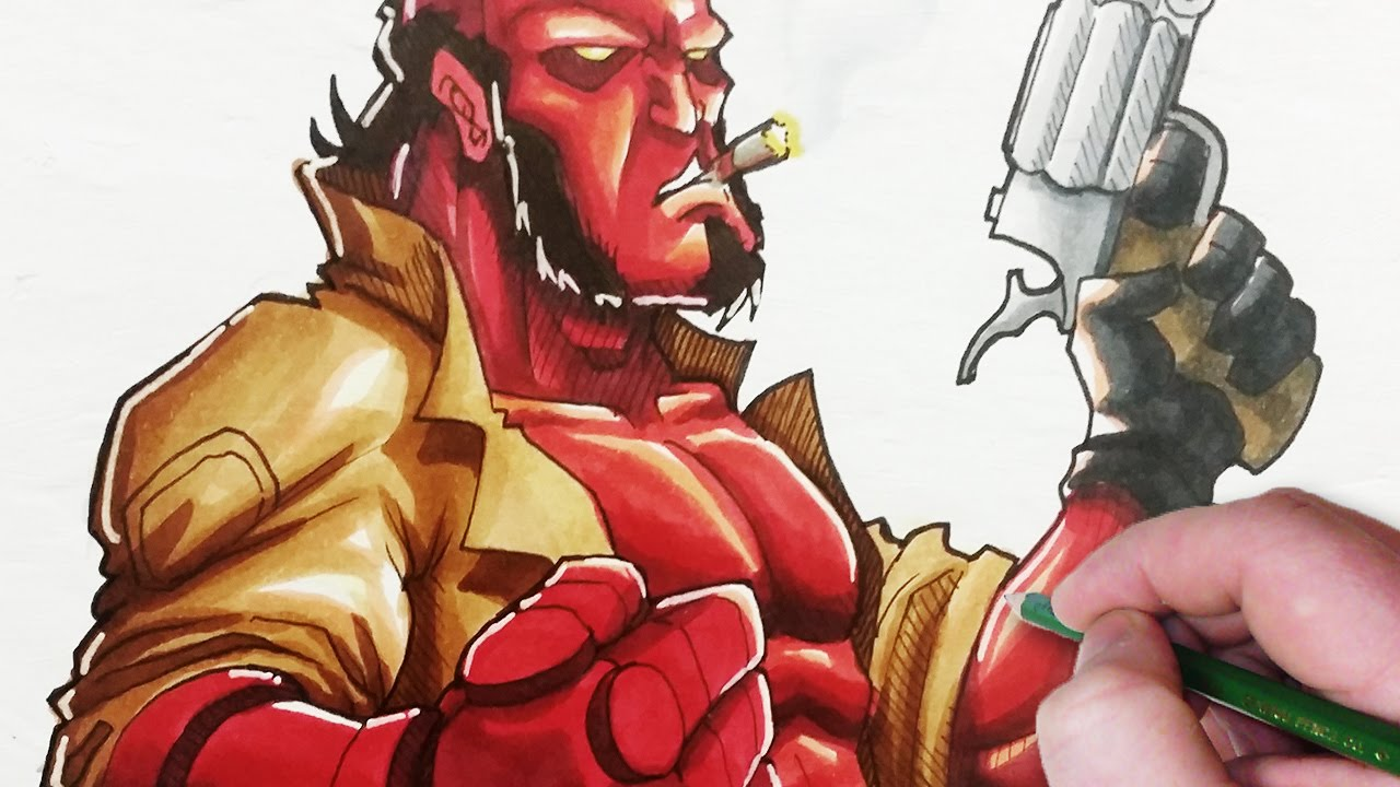 Character Design Draw With Jazza : Let s draw hellboy youtube