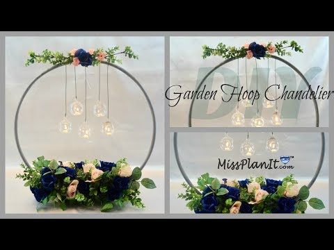 Dollar Tree Hula Hoop Wedding Chandelier Centerpiece |DIY We