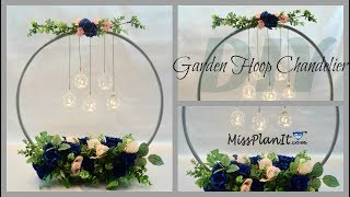 Dollar Tree Hula Hoop Wedding Chandelier Centerpiece  DIY Wedding Tutorial
