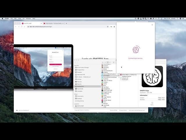 How to locate EMOTIV App and login - macOS