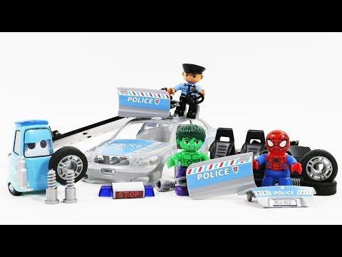 Hulk and Spiderman Assembly Police Car toys for Children - Super Hero video for kids - YouTube
