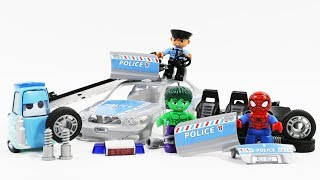 Hulk and Spiderman Assembly Police Car toys for Children - Super Hero video for kids